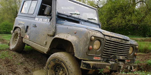 Land Rover tackling an off-road track